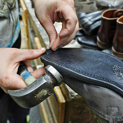 shoe repair in action